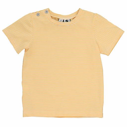 henry button tee mini yellow stripe knit