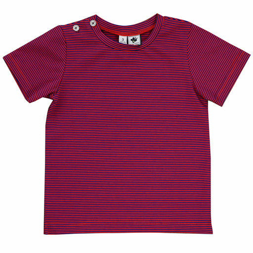 henry button tee red blue stripe knit