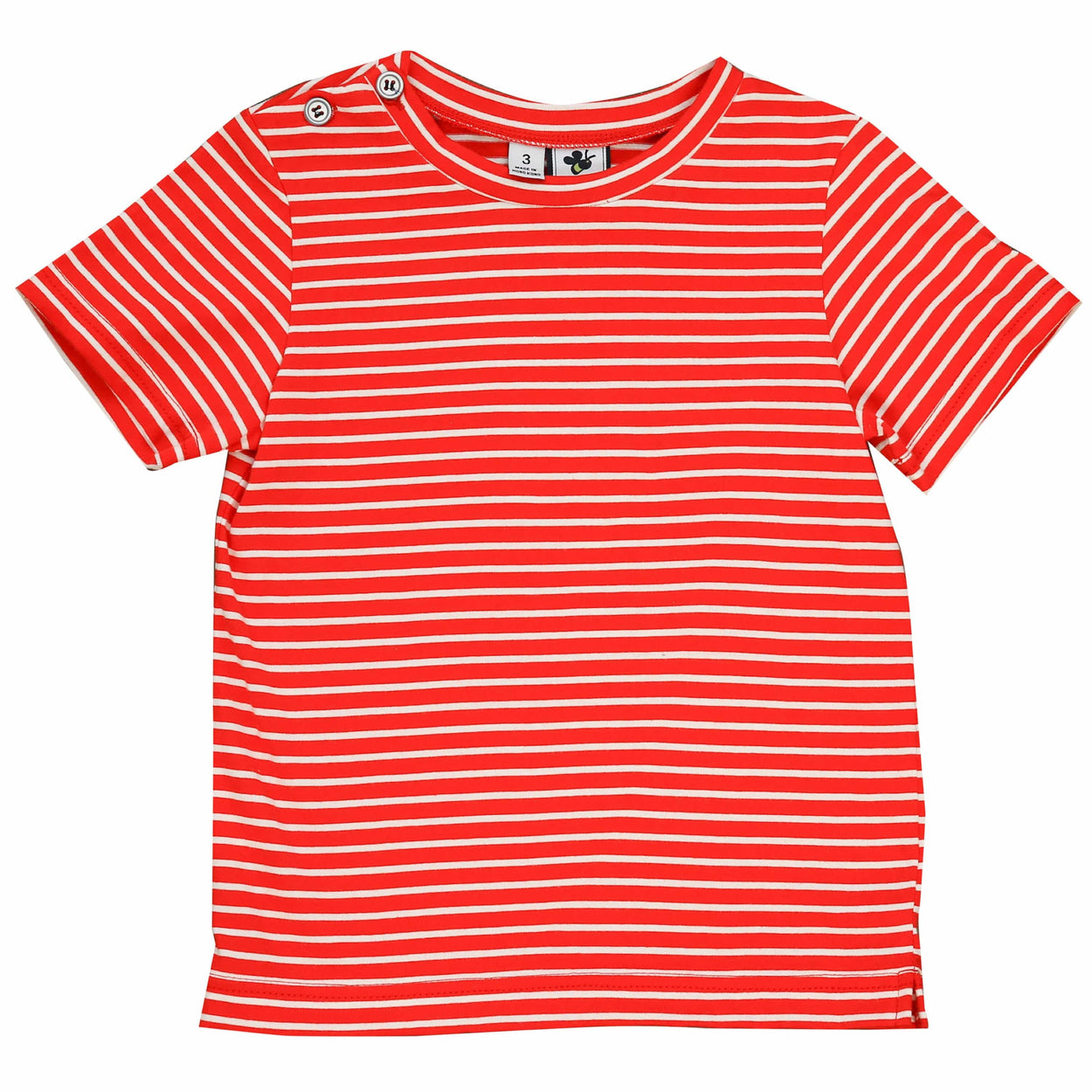 henry boys button tee red stripe knit