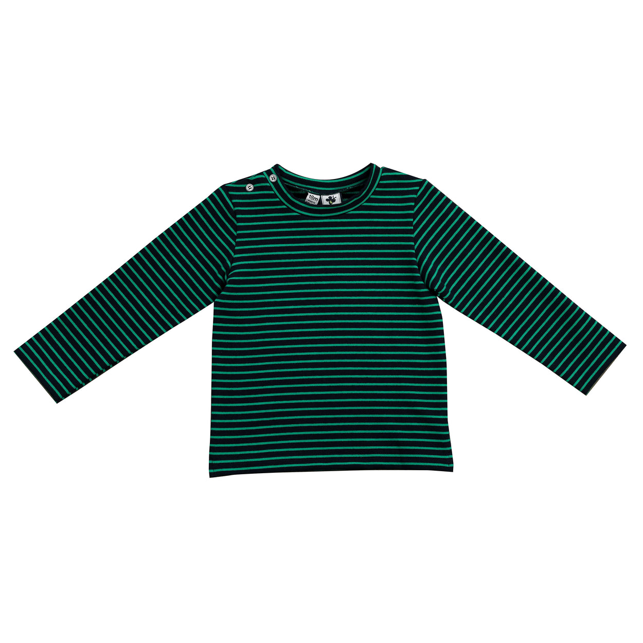 henry boys button shoulder long sleeve tee navy green stripe
