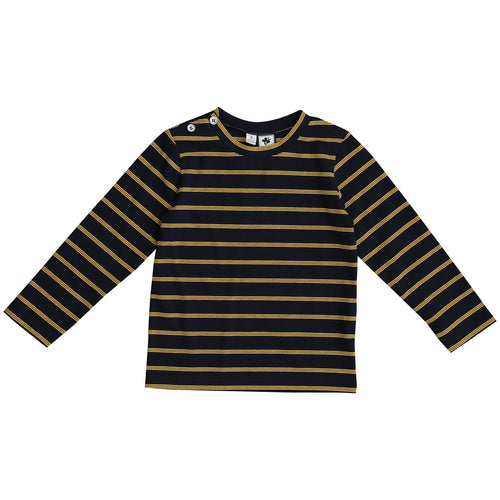 henry button shoulder long sleeve  tee navy yellow stripe