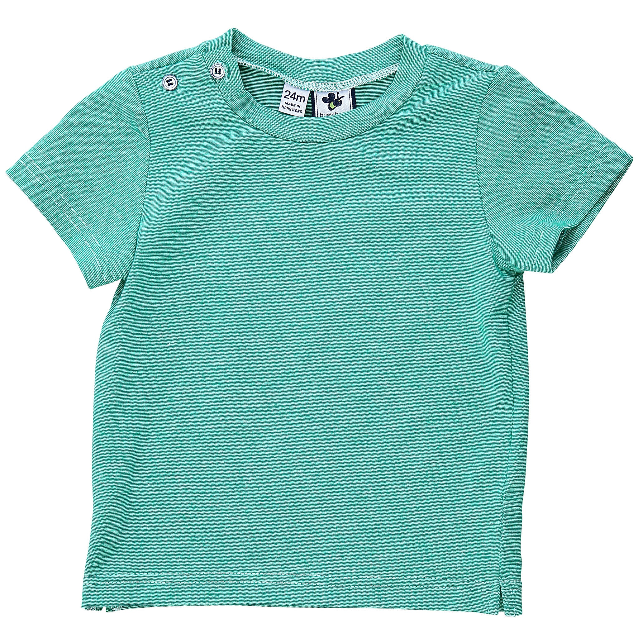 henry button shoulder tee green chambray knit