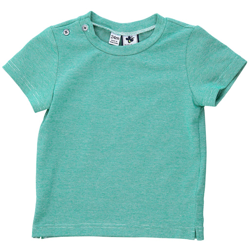 henry boys button shoulder tee green chambray knit