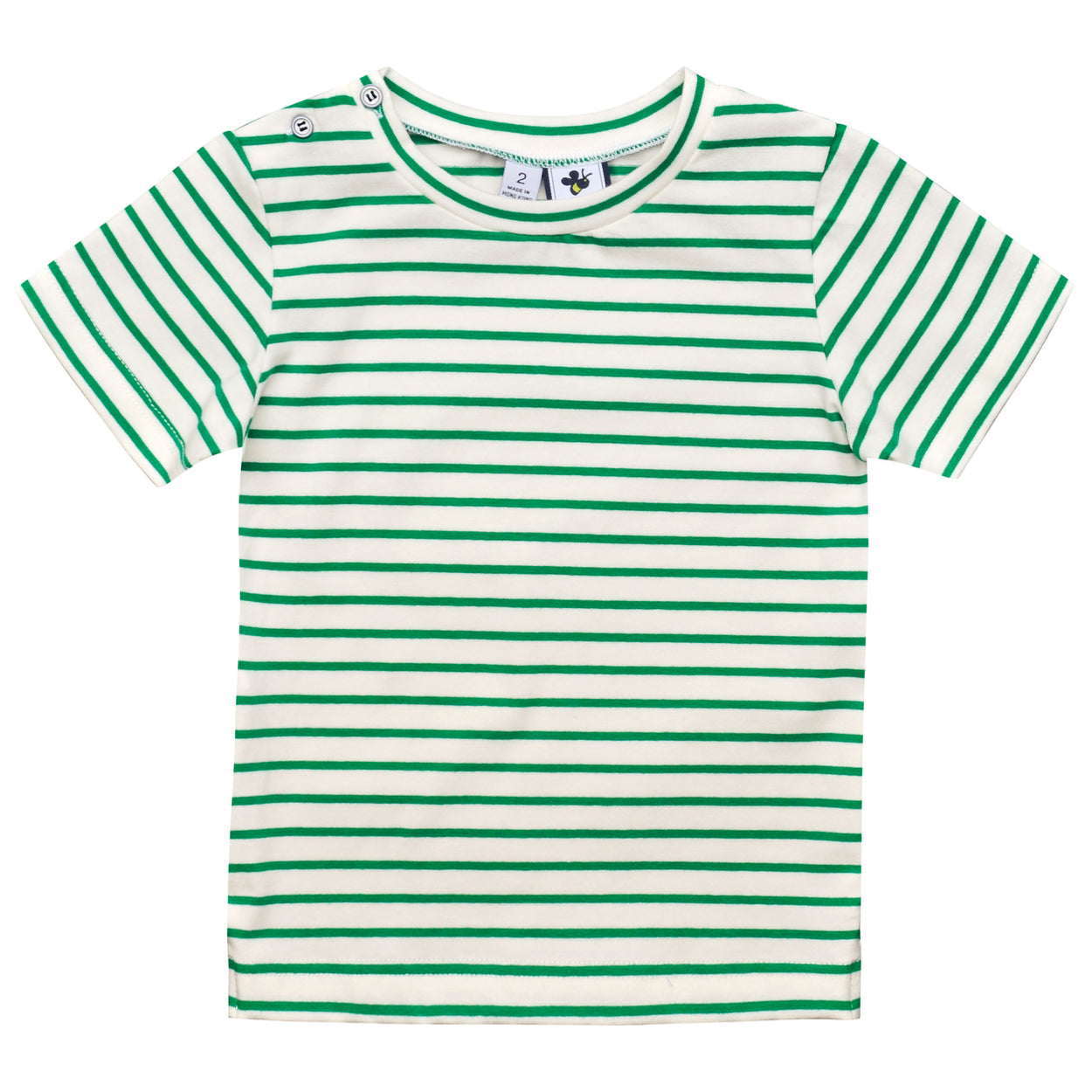 henry boys button shoulder tee green white stripe