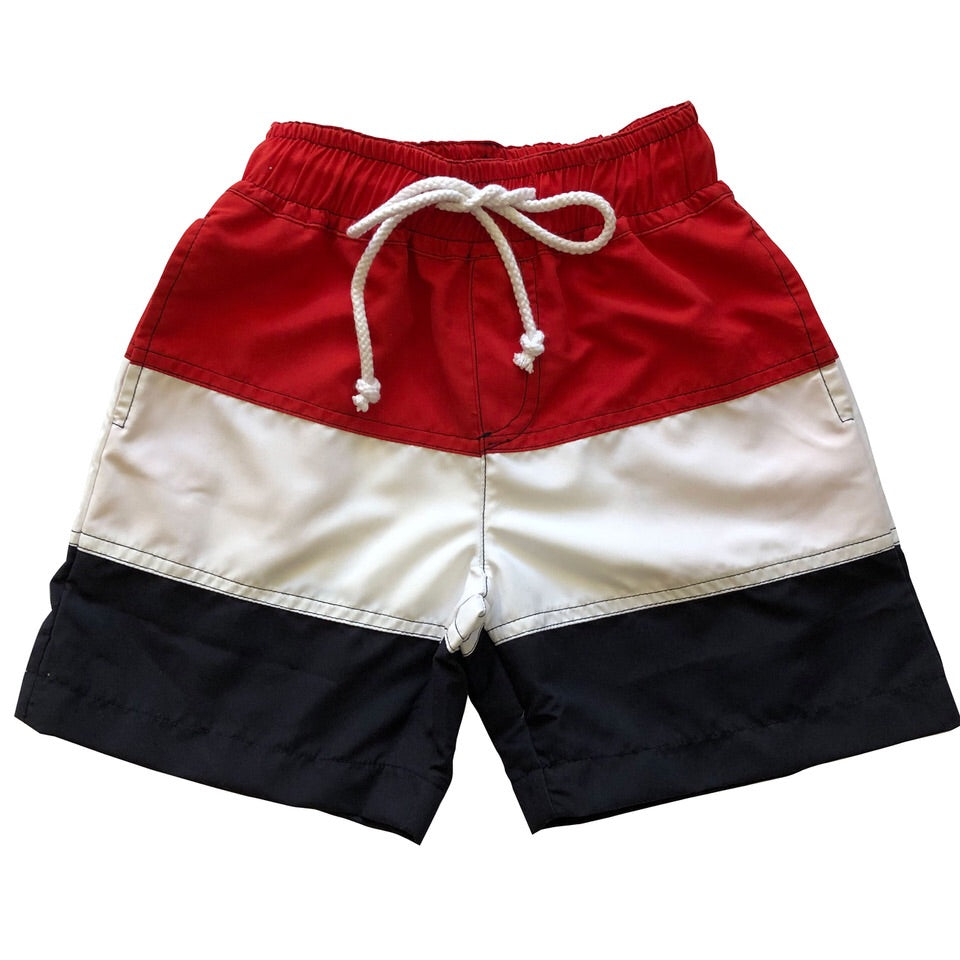boys' chris board shorts red white navy colorblock
