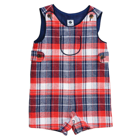jack classic shortall red navy cream plaid