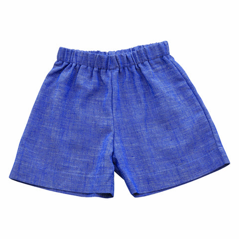 jd pull on shorts blue chambray