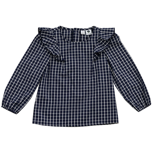 kate shoulder wing top big navy check