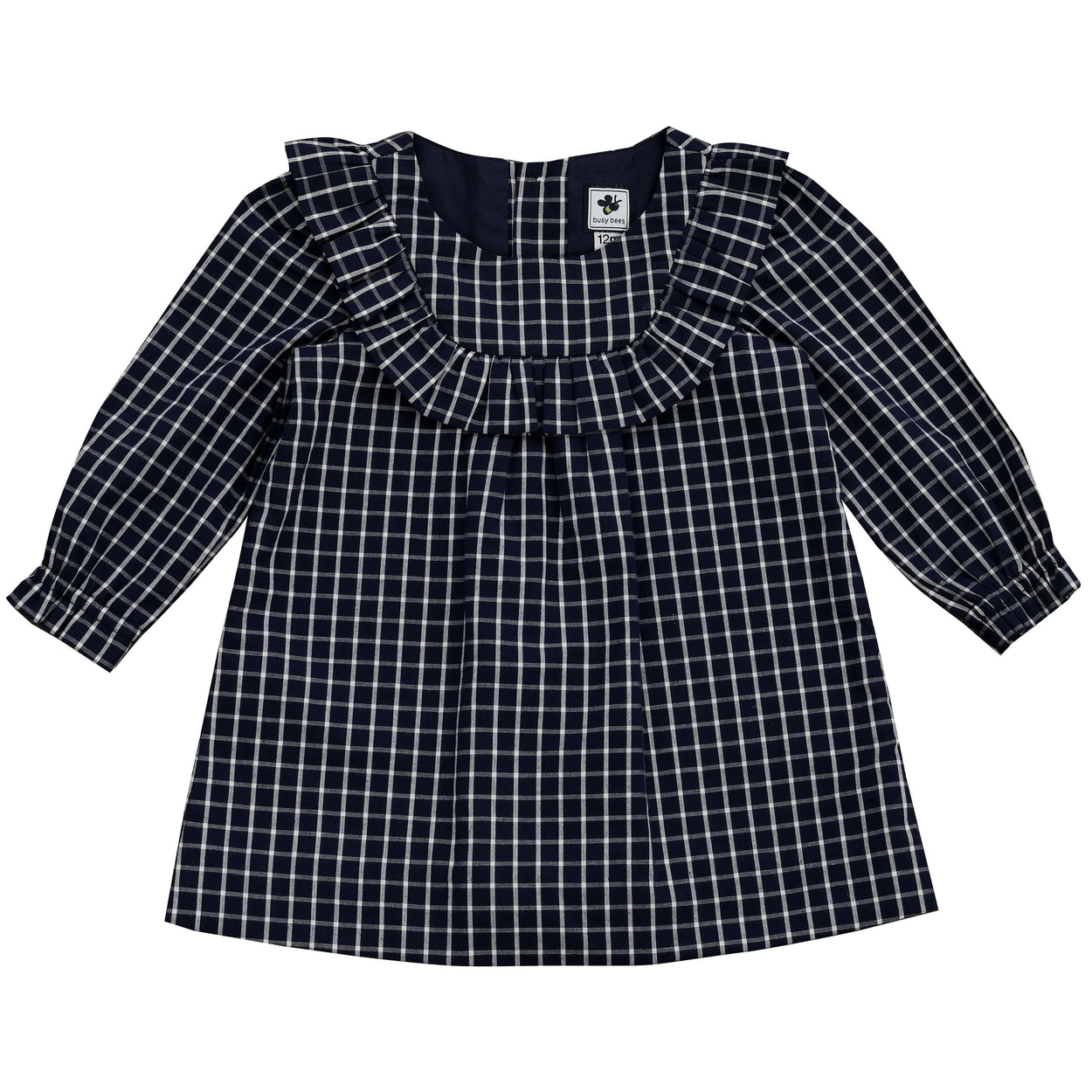 kennedy ruffle bib dress big navy check