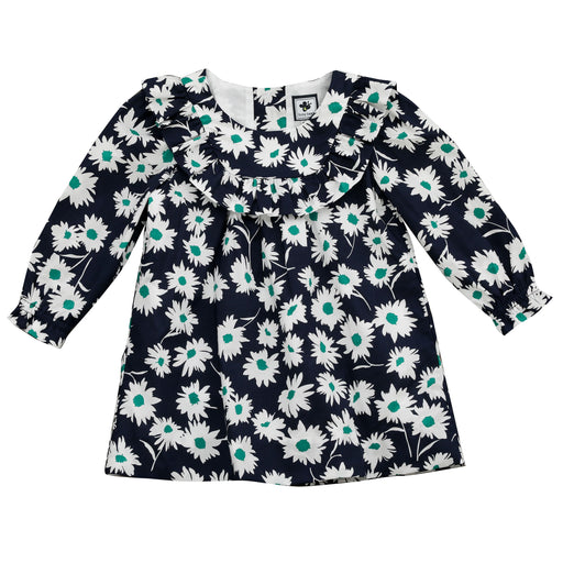 kennedy ruffle bib dress navy green floral