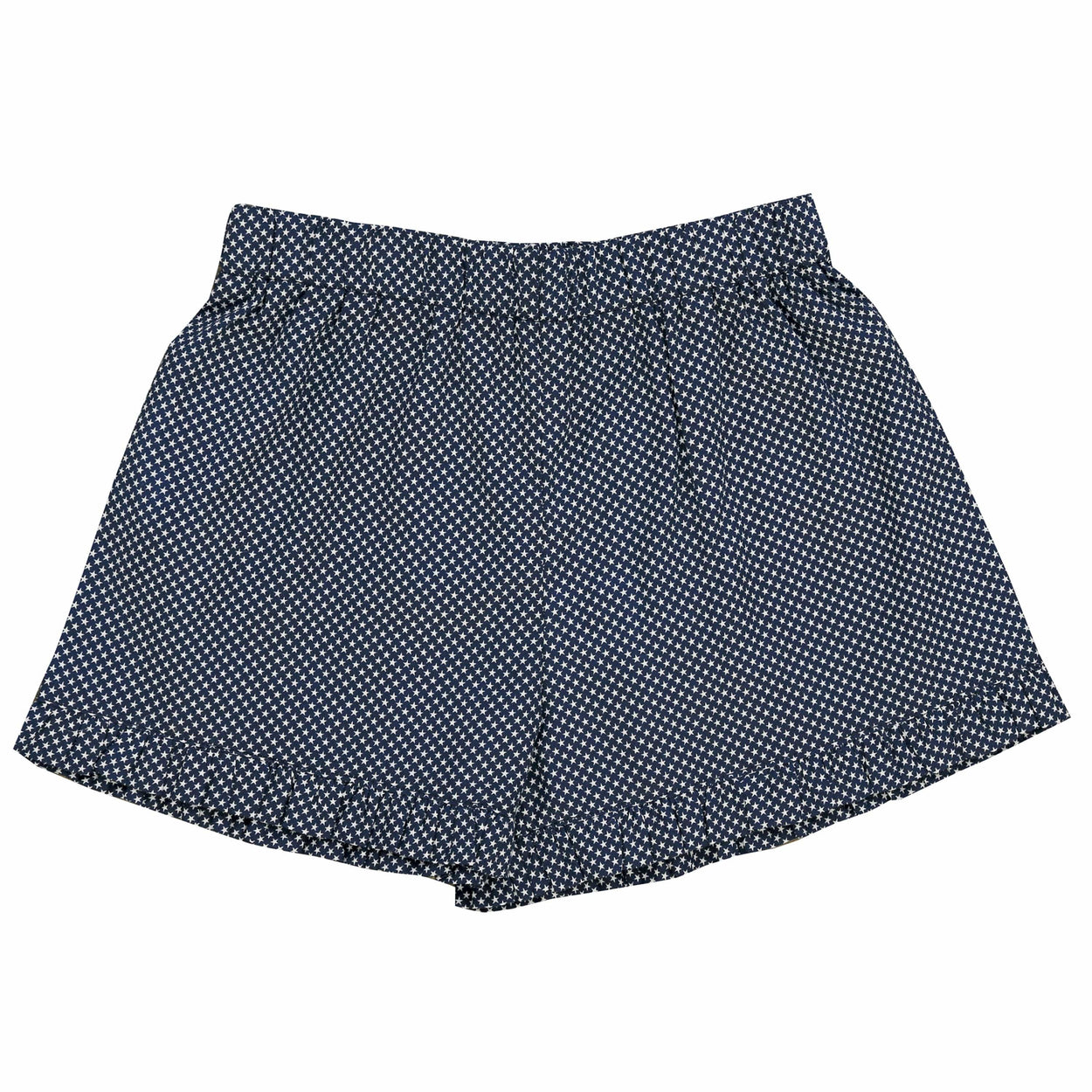 lee lee ruffle shorts navy stars