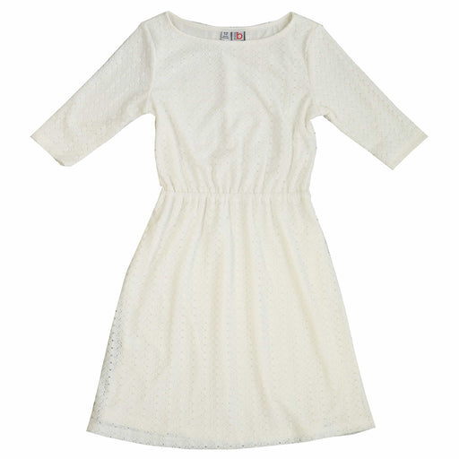 leslie bateau neck dress white stretch lace