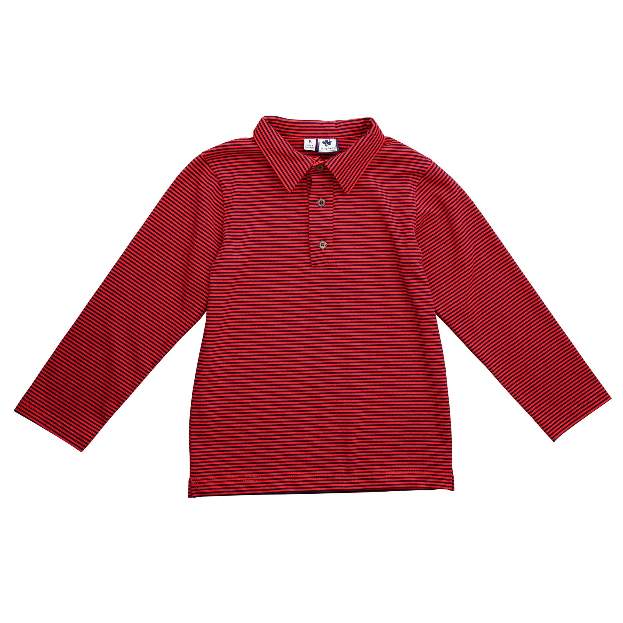 busy bees long sleeve polo mini red navy stripe knit
