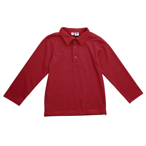 busy bees boys long sleeve polo mini red navy stripe knit