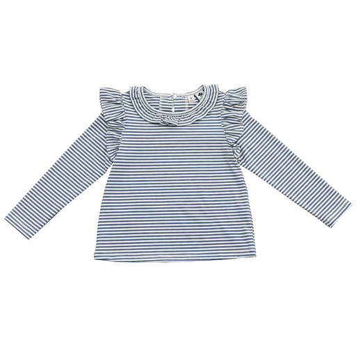 luna ruffle top blue stripe