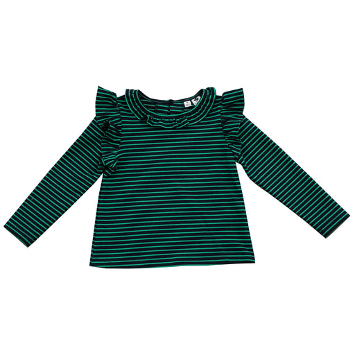 luna ruffle top navy green stripe