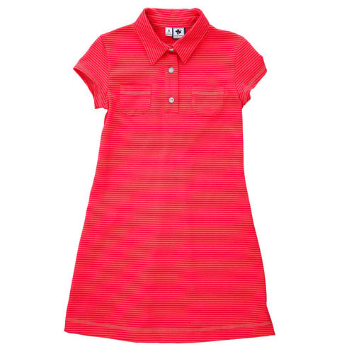 mimi polo dress coral red mini stripe knit
