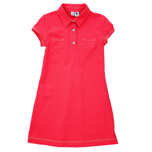 mimi tennis polo dress coral red mini stripe knit