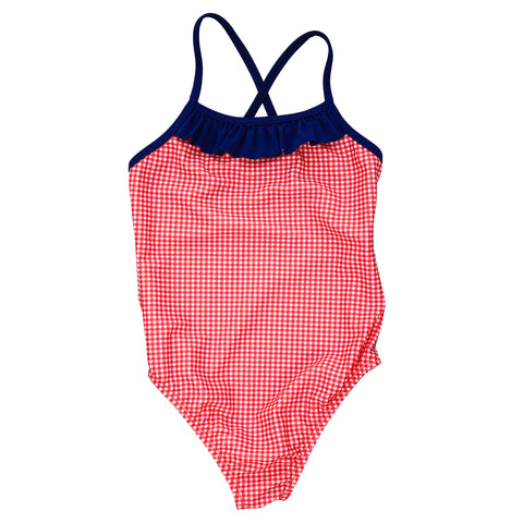 swim suit ruffle red gingham check