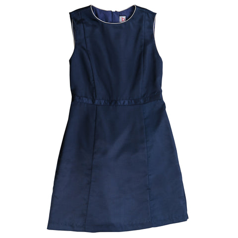 ophelia dress navy shantung