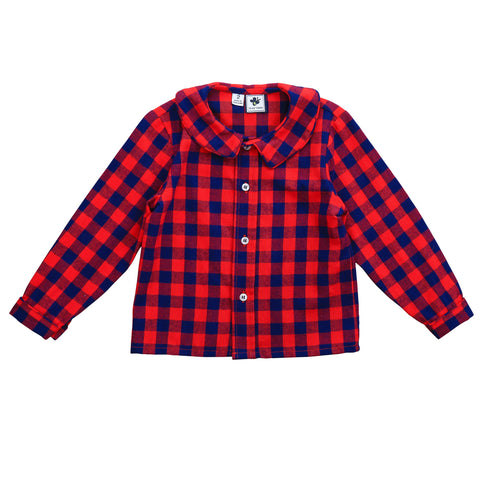 peter pan shirt red navy buffalo check