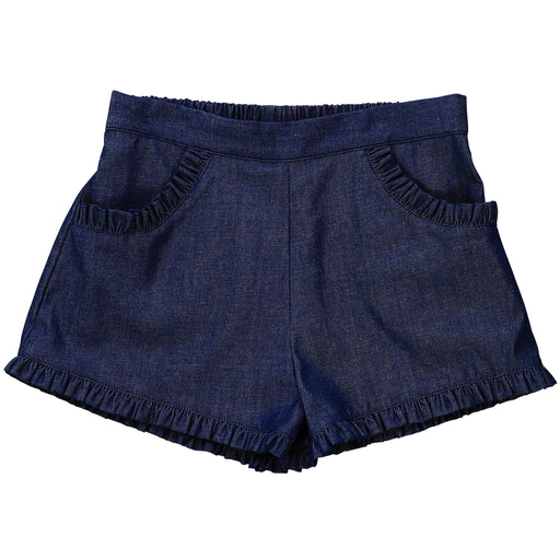 phoebe pocket shorts indigo denim chambray