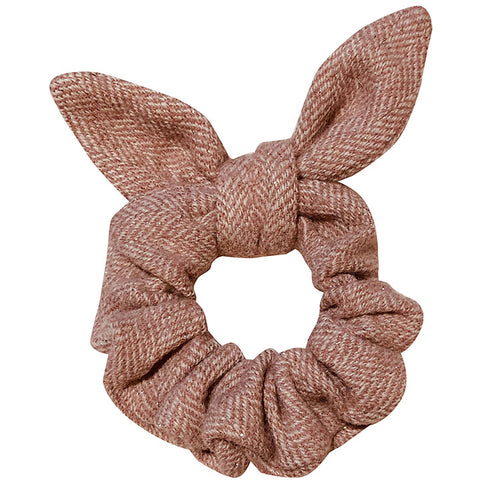 Preppy holiday scrunchy with bow pink tweed