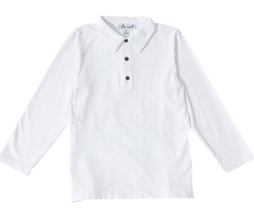 busy bees long sleeve polo white
