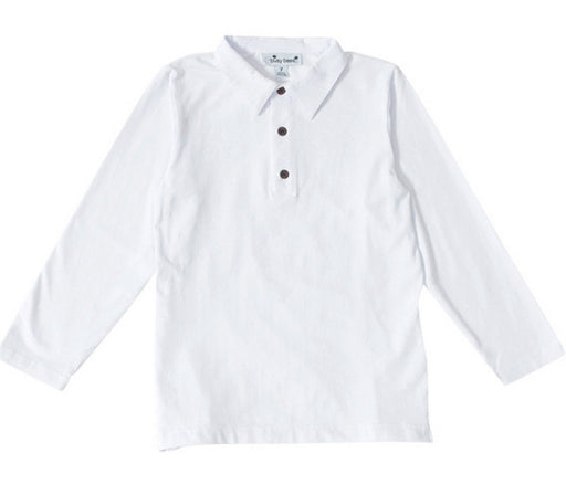 busy bees boys long sleeve polo white knit