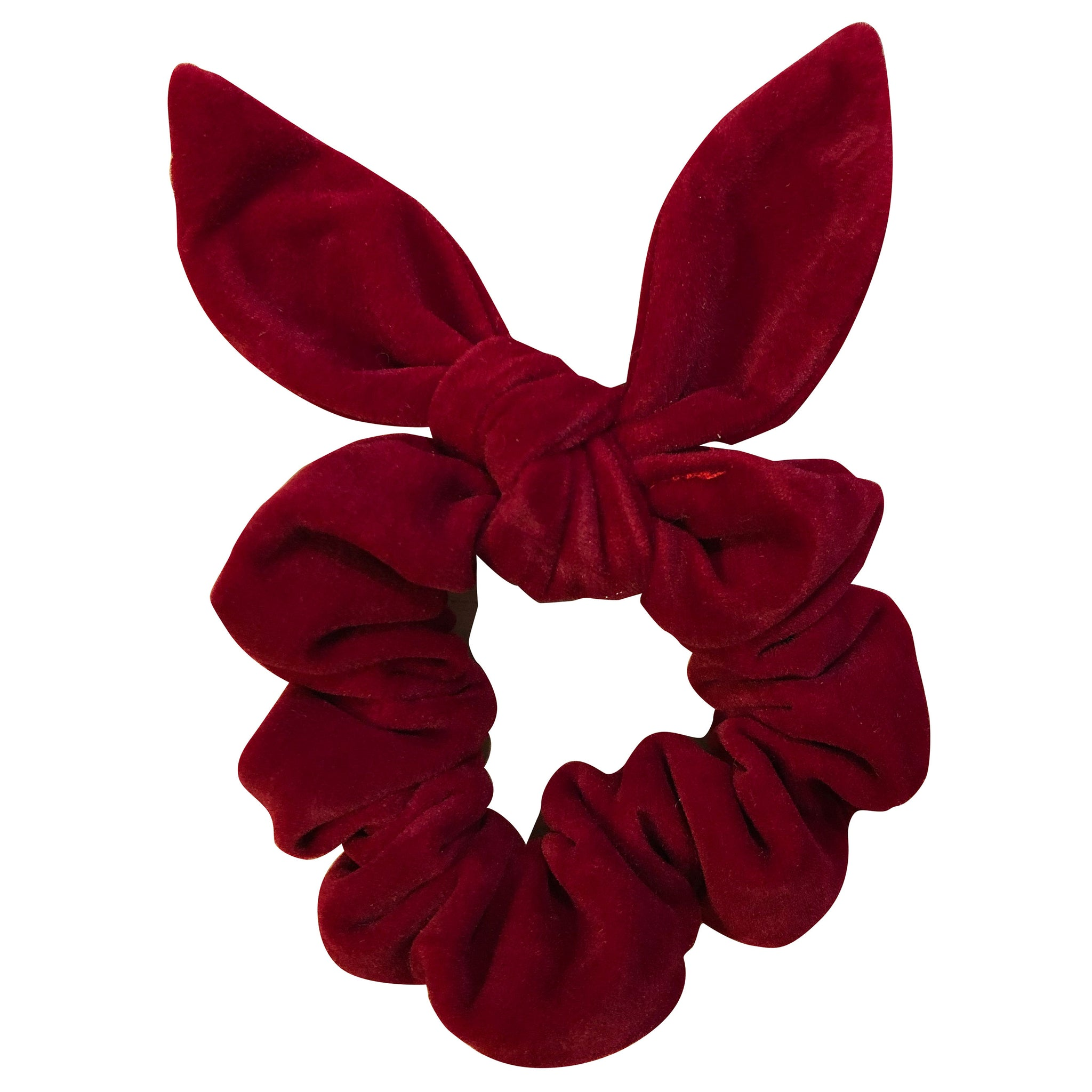 Preppy holiday scrunchy with bow red velvet