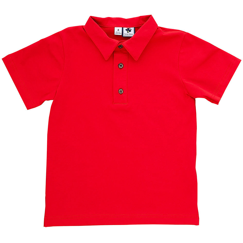 busy bees boys polo red knit