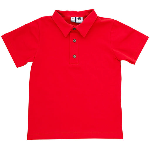 boys' busy bees polo red knit