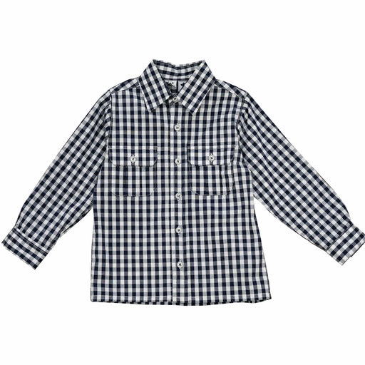 reece boys button down campshirt navy gingham check