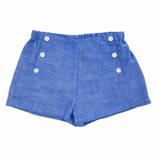 sailor button shorts blue chambray