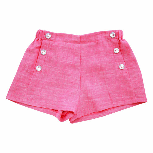 sailor button shorts pink chambray
