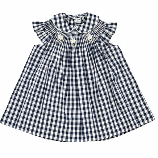 sophie smocked bishop and bloomer navy gingham check