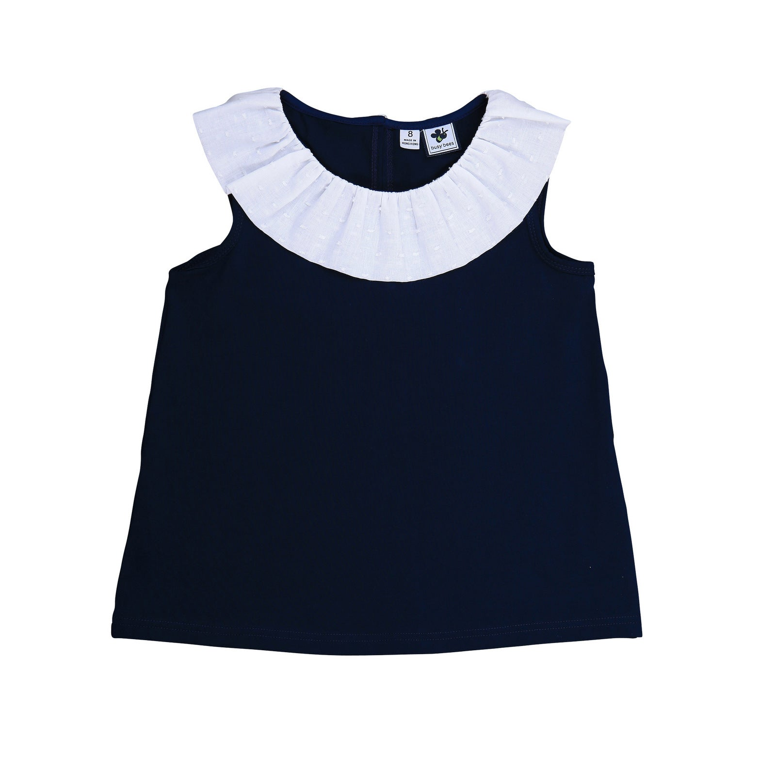 summer ruffle tee navy knit with white swiss dot
