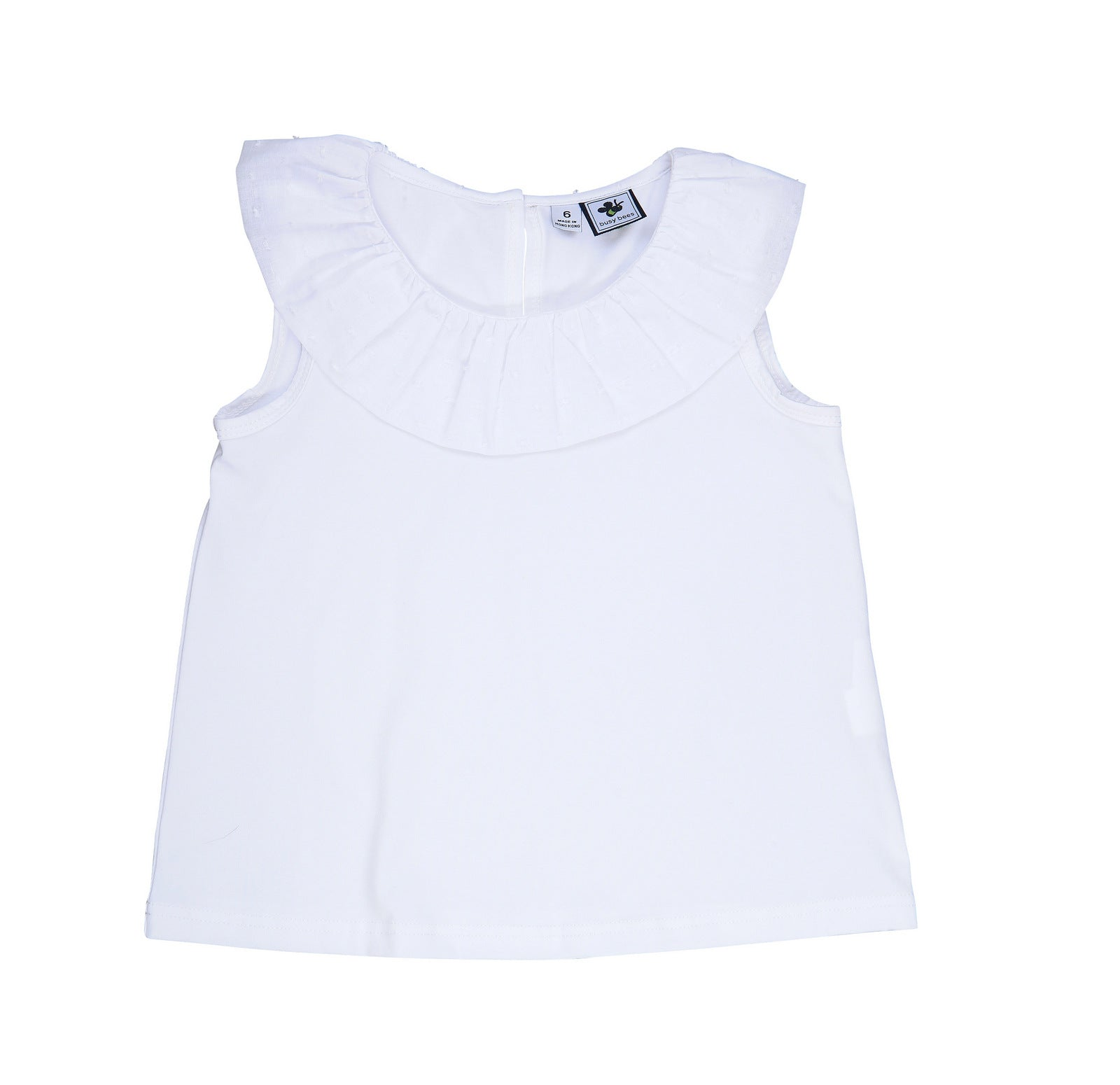 summer ruffle tee white knit with swiss dot