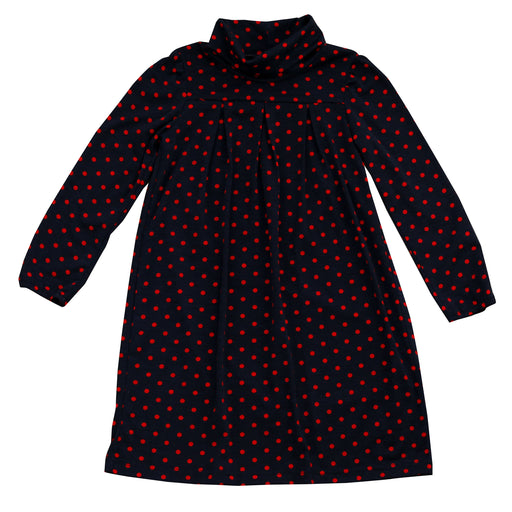 suzy turtleneck dress red navy polka dot