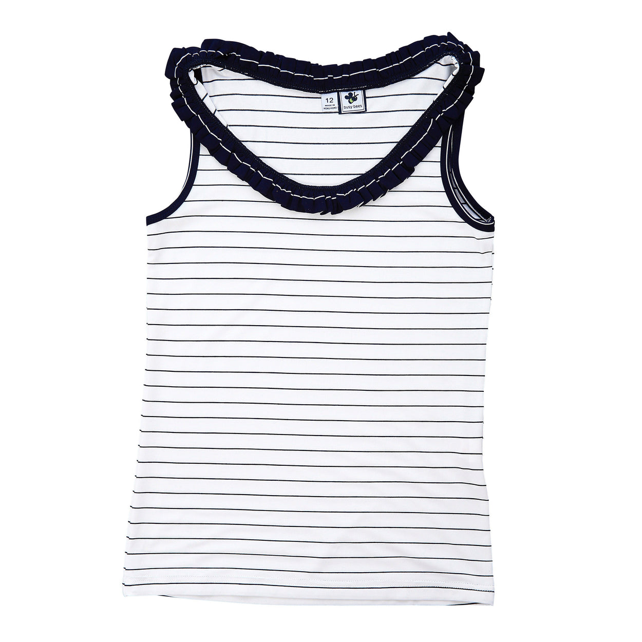 trudy ruffle performance tank cream navy mini stripe