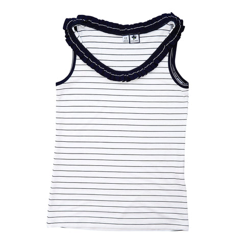 trudy ruffle performance tank navy mini stripe
