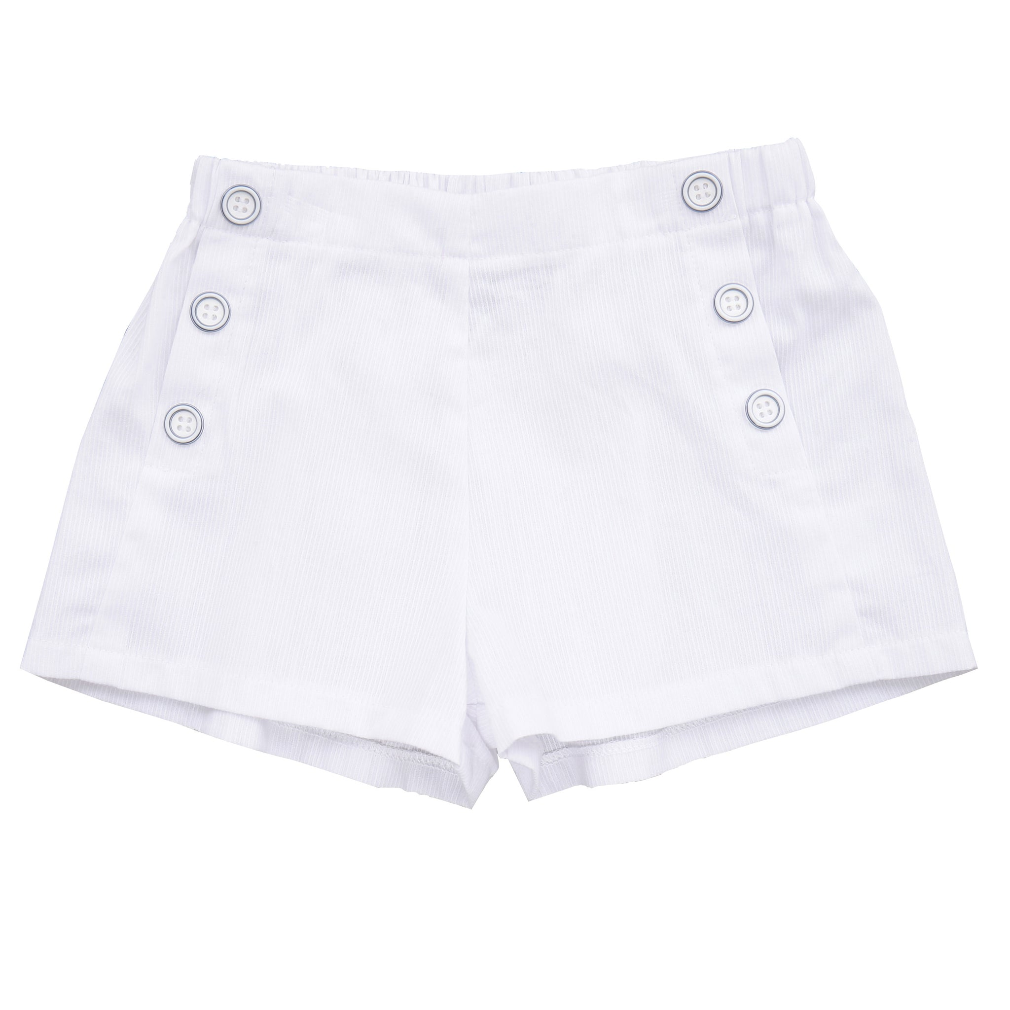 sailor button shorts white seersucker