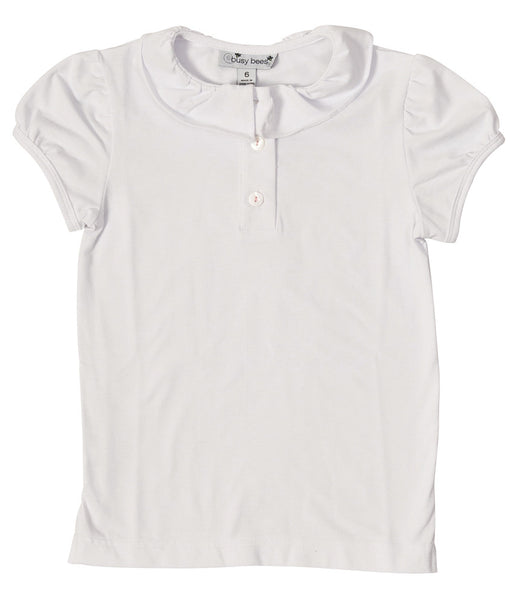 eliza ruffle polo white knit