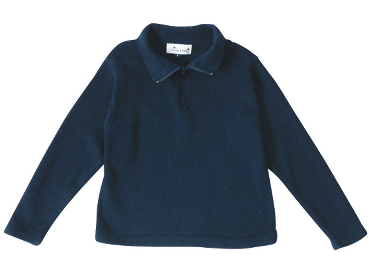 boys' cotton zip sweater navy