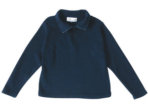 cotton zip sweater navy
