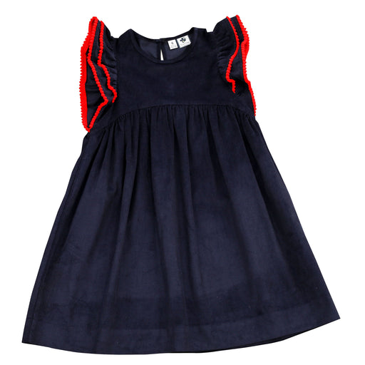 zoe ruffle sleeve dress navy corduroy