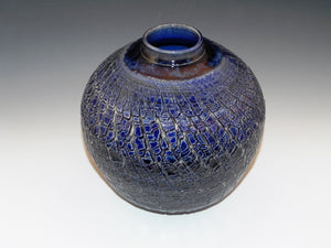 Studio Pottery. Pottery Vase With Original Sodium Silicate Surface Design. High Fired In An Electric Kiln. Handcrafted Home Decor.