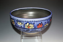 Load image into Gallery viewer, Slip Trailed Sapphire Serving Bowl