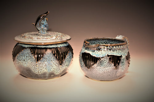 Oil Spot Pottery Creamer and Sugar Set
