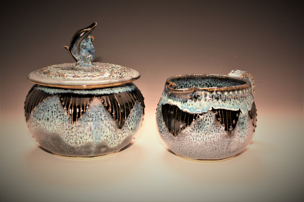 Functional Art. Studio Pottery Cream and Sugar Set. Original Art Surface Design. High Fired In An Electric Kiln.